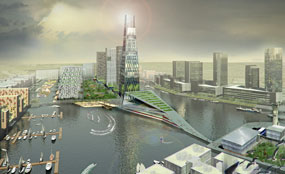 A CGI of the Wirral Waters scheme
