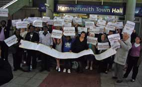 Protest: residents oppose plans at meeting last night