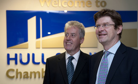 Hull & Humber Chamber of Commerce president Howard O'Neill (left), with decentralisation minister Greg Clark. Sean Spencer/Hull News & Pictures photo