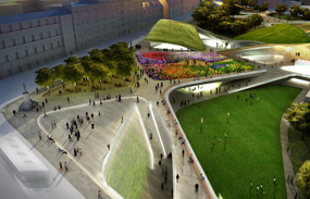 An artist's impression of what the Union Terrace Gardens revamp could have looked like