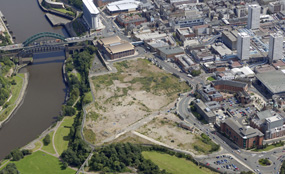 Aerial view of Vaux Brewery site, Sunderland