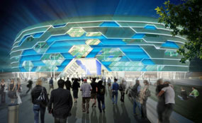 A CGI of the exterior design for the proposed Leeds Arena