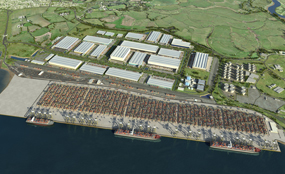 A visualisation of the London Gateway port and logistics park