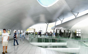 A CGI of Fulbourne Street ticket hall, Whitechapel station