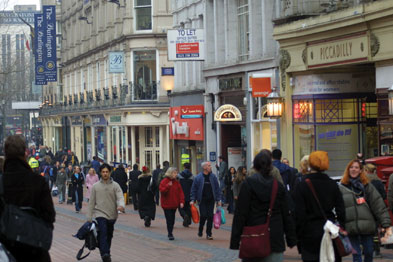 Shoppers in Birmingham