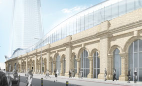 An artist's impression showing London Bridge station following the proposed redevelopment, as seen from St Thomas Street