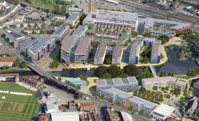 A CGI of Taunton's Firepool scheme. Somerset County Cricket Club's ground can be seen in the bottom left