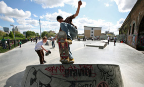 A skateboard area in Mile End Park in the London Borough of Tower Hamlets