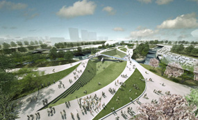 An artist's impression of the Olympic Park after the London 2012 Games