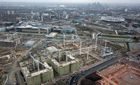 Aerial view of the Olympic Park, showing construction of the Olympic Village in the foreground