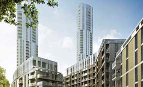 A visualisation of plans for the former Ram Brewery site in Wandsworth, south London