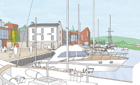 A CGI of plans for a new waterside quarter next to the Forth & Clyde Canal