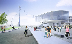 A CGI of plans for the south station of the Thames cable car