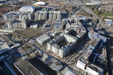 An aerial view of the Olympic Village from November 2010