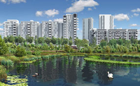 A CGI showing proposals for the landscaped areas surrounding the athletes' village, which lies adjacent to the Olympic Park in east London