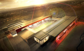 A visualisation of Bristol City's new 30,000-seat stadium. Bristol was one of the 12 cities included in England's failed bid to host the 2018 World Cup.