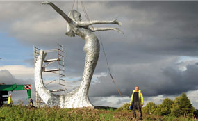 The Cumbernauld statue is put into place