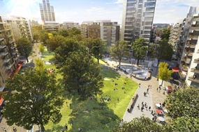 An artist's impression of how the Heygate Estate in Elephant & Castle, south London, will look following its planned regeneration
