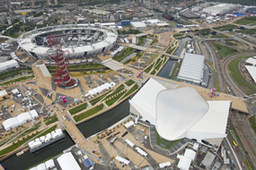 An aerial view of the Olympic Park, Stratford