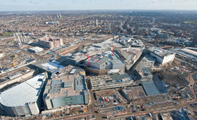 An aeriel view of the Westfield site in Stratford, east London