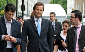 New third sector minister Nick Hurd (centre) visits the Church Street estate in central London.