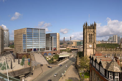 Brownfield land linking Manchester's Medieval Quarter and Salford riverside, with CGI