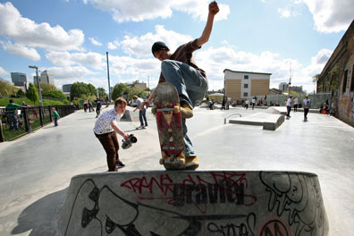 A skate park in Tower Hamlets, which according to a survey has the highest child poverty rate