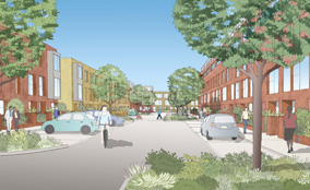 A visualisation of the plans for the Green Man Lane housing estate in West London