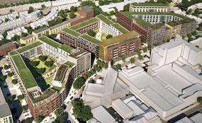 A CGI of the Green Man Lane regeneration project in West Ealing, London
