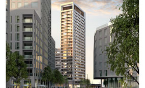A CGI of the T6 student accommodation building intended for King's Cross, central London