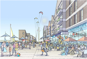 A visualisation of the outline plans to redevelop Folkestone seafront