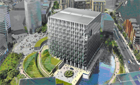 A CGI of plans for Embassy Gardens, the site next to the planned US Embassy in Nine Elms