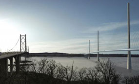 An artist's impression of Forth Replacement Crossing from North Queensferry