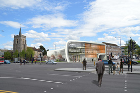 A visualisation of the proposed Curve library and community facility