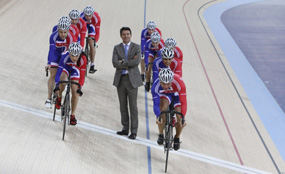 Finishing line: 83 per cent of the Games-time construction programme, including the velodrome, is complete.