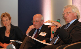 From left: Seeda's Pam Alexander, Nick Raynsford and Lord Heseltine take part in a debate at last week's National Regeneration Summit