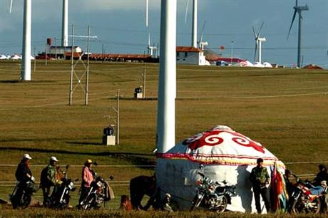 Huiteng Liangfeng wind farm at Xilinguole League, Inner Mongolia