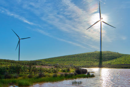 A Gamesa 2MW turbine at the 244MW El Andévalo wind farm