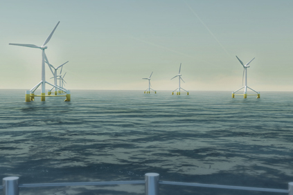 An artists rendering of the Windflo floating turbine concept