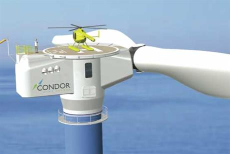 Artist's concept of the Condor 5's nacelle shows a distinct circular helicopter-hoisting platform positioned on top of the center of the nacelle in line with the tower