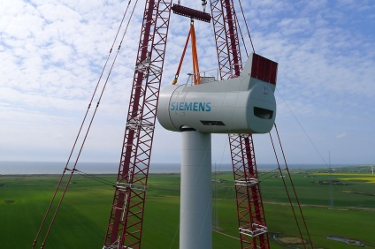 Siemens SWT-6.0 120 being installed at a test site in Denmark