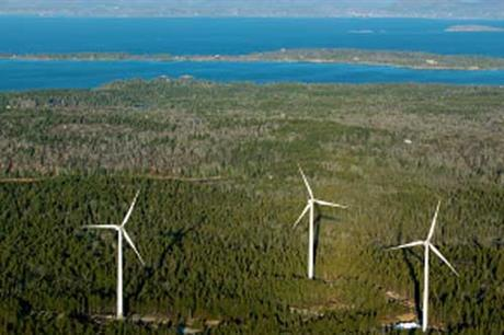 GE turbines at the Fox Islands community wind project in Maine (Peter Railston - Island Institute)