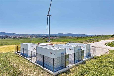 Storage pilot… A 3MW turbine is connected to a rapid-response battery and a slower version at Barasoain wind farm