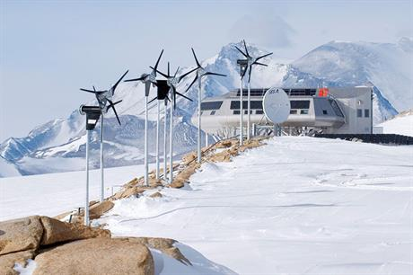 Wind turbines and solar panels cover the Antarctic research station's entire energy needs