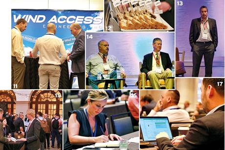 11 Exhibition floor; 12 Sponsored cake; 13 Josh Paquette, Sandia National Laboratories; 14 Mike Daigle, Brookfield Renewable & Mike Purcell, Exelon Generation; 15 Networking; 16/17 Taking notes