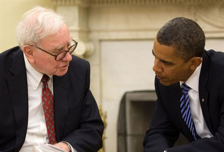 BIg hitter… Berkshire Hathaway owner Warren Buffett with US President Barack Obama