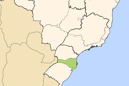 Santa Catarina is in the south of the country