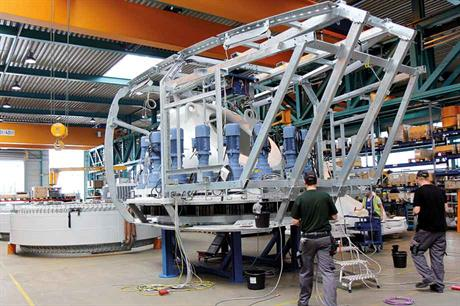 Enercon EP5 nacelle chassis under construction