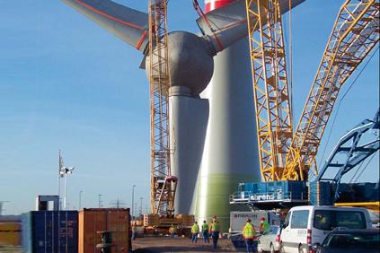 Enercon's 7.5MW E-126 turbine mid-installation