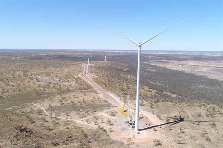 Nearing completion… Windlab's Kennedy project in Australia combines 43MW of wind from 12 Vestas V136-3.6MW turbines, 15MW of solar PV  and 2MW/4MWh of battery storage